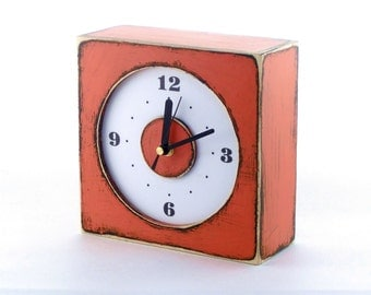FREE SHIPPING - Wall hanging clock orange, Rusty clock, Wall clock orange, Mothers day gift, Spring home decor