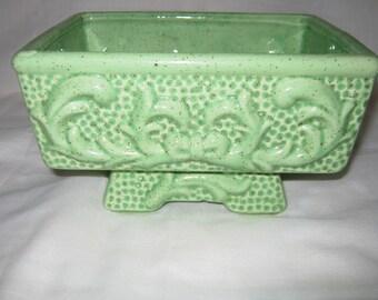 Mid Century Footed Planter/ Stoneware Bright Green Planter// Ceramic Planter/By Gatormom13