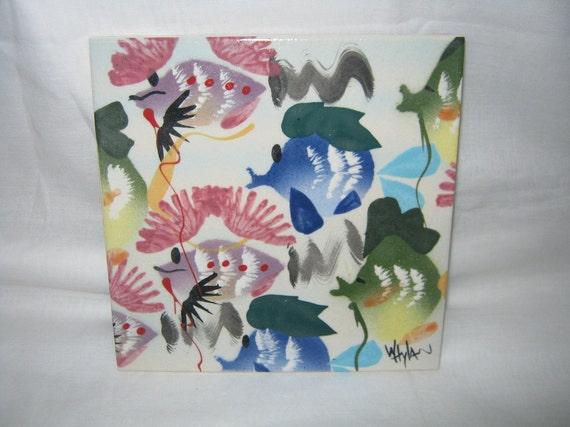 Trivet Hand Painted Artist Made /Wall Hanging/ Ceramic Tile Trivet/   By Gatormom13