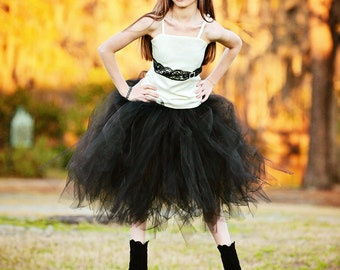 Ivory and Black Lace Flower Girl Dress--Tutu--Lace and Rhinestone Accents--Weddings-Pageants-Portraits--Vintage Hollywood Feel--Many Colors