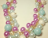 "Luminous Cheerful Chic Colorful Pastel colored bubble necklace at 12""L, Handmade jewelry by ARIIEL"