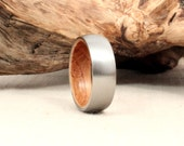Titanium Wood Ring Lined With Whiskey Barrel White Oak Stave