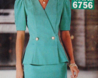 SALE - Fitted Top and Straight Skirt Sewing Pattern - Butterick See and Sew 6756  - Sizes 18-20-22, Bust 40 - 44, Uncut