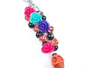 CLEARANCE - Free Shipping - Skull and Roses Purse Charm or Key Chain, Sugar Skull, Halloween, Day of the Dead, Dia de los Muertos