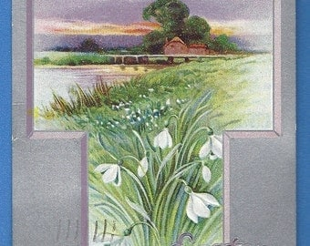 Vintage Easter Postcard Antique TUCK Easter Joys Silver Cross Designs 1914 cancel embossed Collectible