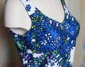 Vintage Retro Sixties 60s Long Flower Print Blue Tank Dress - Excellent Condition