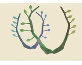 Art print Giclee green leaves Branches Natural History Woodland print art print grow nature trees spring home decor