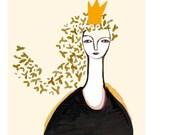 Be Happy Queen golden gold black orangedutch design the netherlands 6 x 8 print giclee
