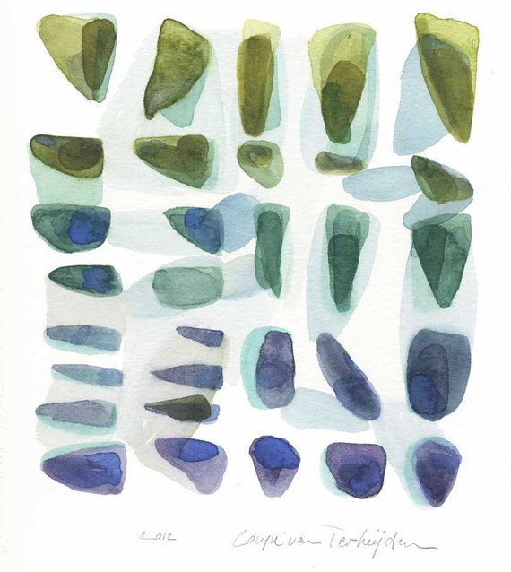 Artwork original watercolor painting home decor - Beach Finds - Rocks pebbles blue green Abstract painting