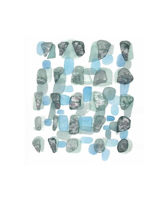 Sea Rocks Aqua - Abstract painting watercolour painting - Original abstract painting - aqua blue watercolor painting ocean breeze