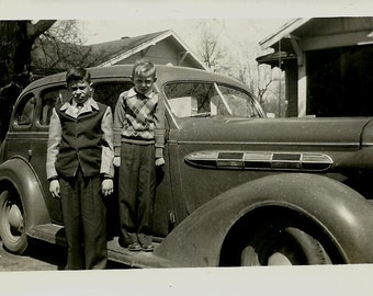 Vintage Photo - Two Boys and Old Car - circa 1940s - Black and White