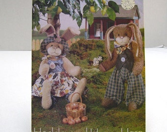 Stuffed Bunny Pattern - Butterick 6046 - Hedda and Henry Hare  - Beardeaux Bears - Removable Clothing