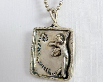 Angel Stella Is A Free Spirit - Up Cycled Sterling And PMC - Echo Friendly - Women - Stength - Empowerment - Art Jewelry Pendant - 746