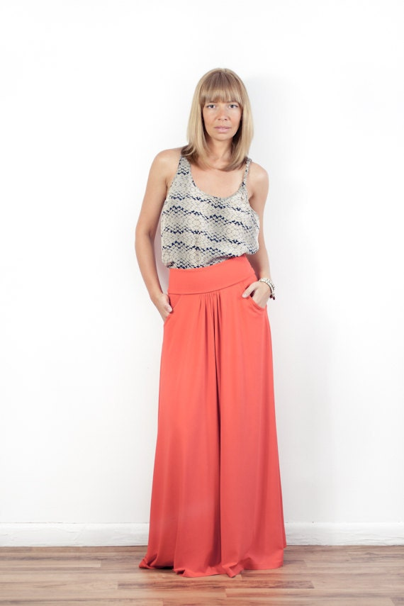Fold-over Waist Maxi Skirt With Pockets - More Colors