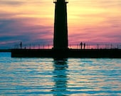 The Sun Sets Silhouetting the Muskegon Lighthouse in Michigan Nautical & Marine Art Photography