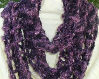 Infinity Loop scarf in deep purple shades