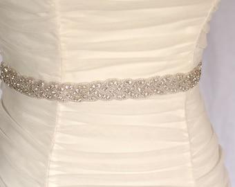 Isla -Braided Rhinestone beaded bridal sash, wedding sash, bridal accessories, crystal sash, bridesmaid,  bridal sash