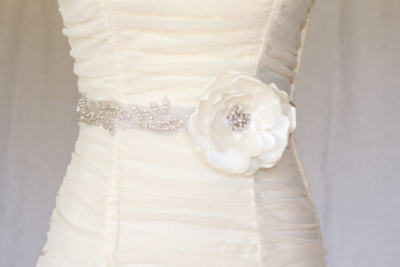 Abby  Rhinestone beaded bridal belt sash, bridal sash, crystal sash, flower sash, wedding dress sash