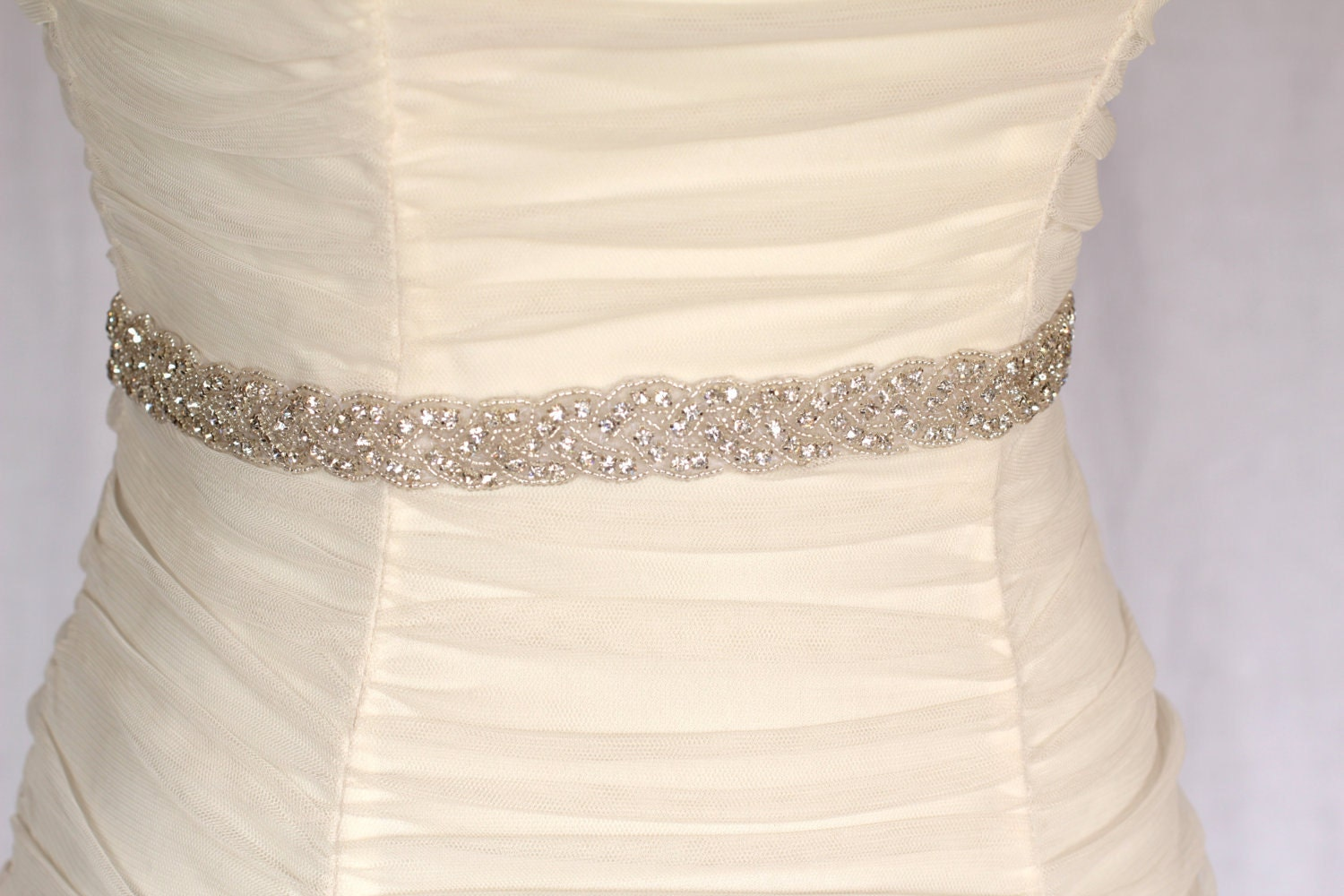 Isla Braided Rhinestone Beaded Bridal Sash By Amienoeldesigns