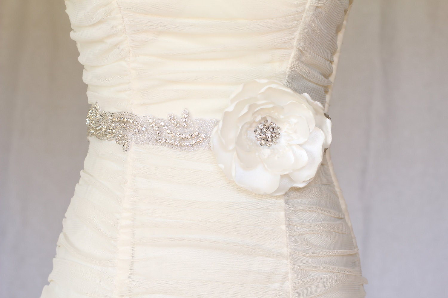 Abby rhinestone beaded bridal belt sash bridal by for Wedding dress belt sash
