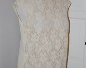 50s Blouse, Lace, Cream, Top, Shell, Size Medium/Large