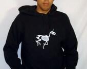 HOODIE SALE!!!! Zombie Unicorn on Black Hooded Sweatshirt - Medium