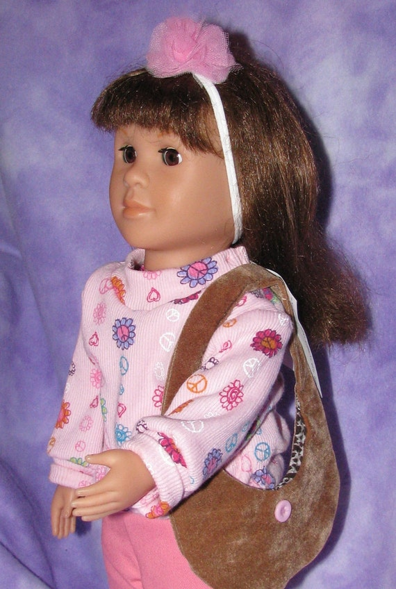 American Girl Outfit Pink Denim Pants & top Peace Sign, Hearts and Flowers with purse and tulle pouf headband