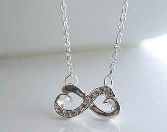 Infinity, crystal, infinity heart, silver, necklace - INFINITY STUDDED