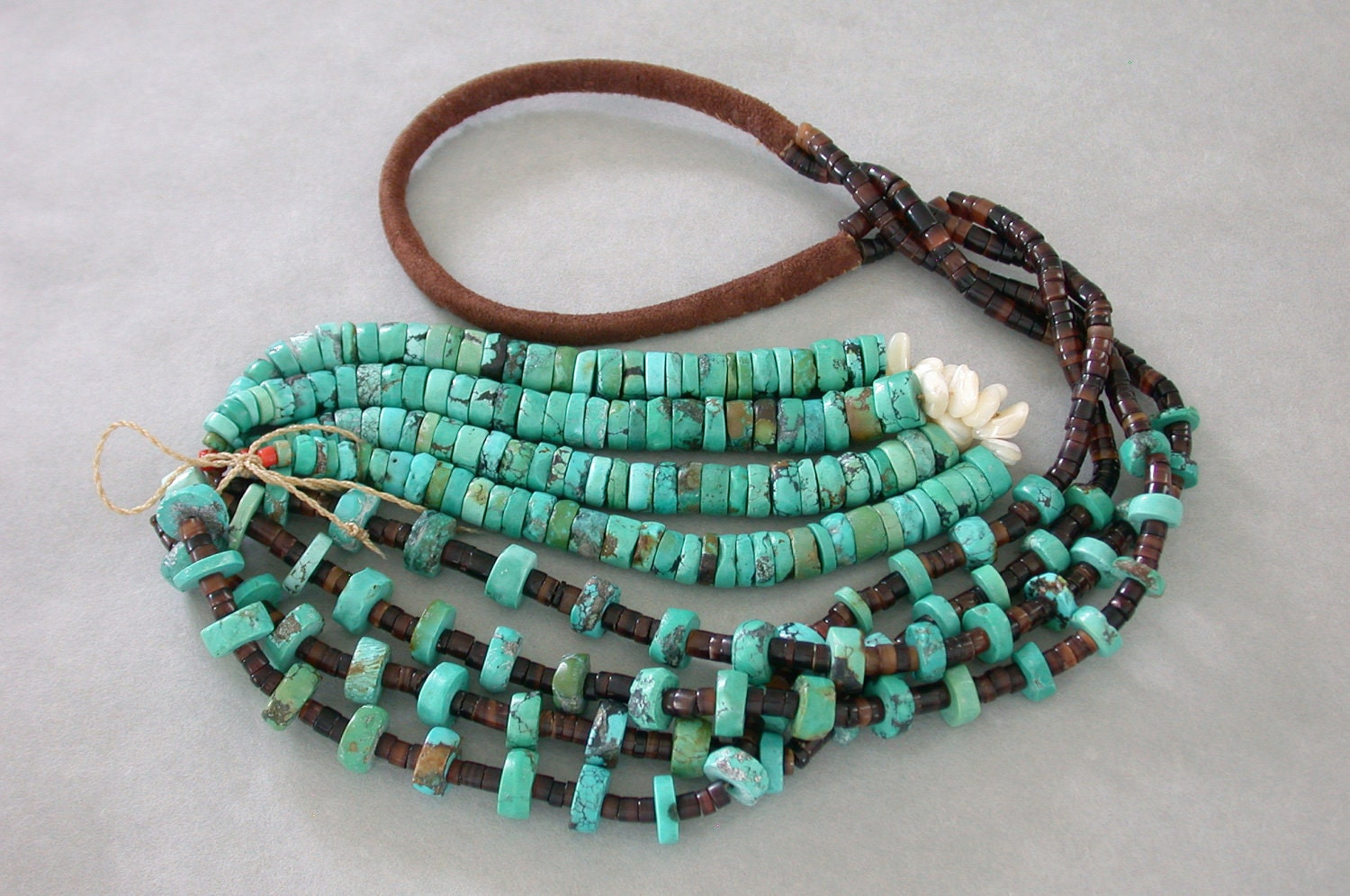 navajo turquoise necklace pen shell heishi by