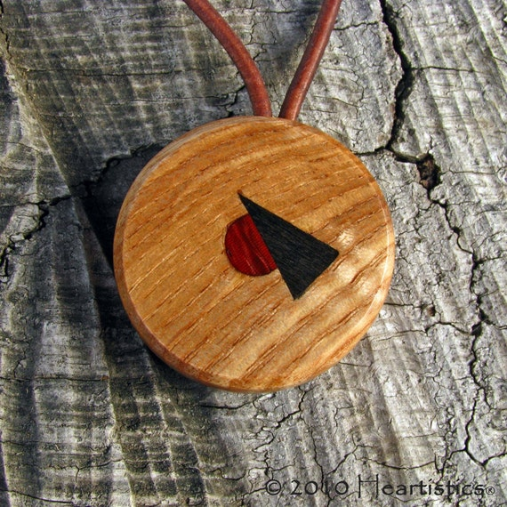 In Motion - Tri-tone Inlaid Solid Ash Wood Choker- Pendant Necklace - Eco Fashion by Heartistics