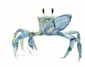 Ocean watercolor- Blue Crab - art print