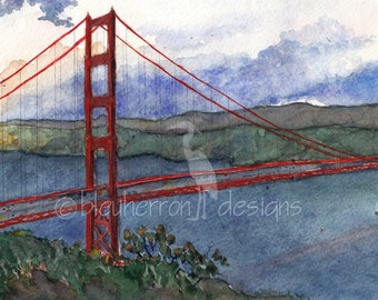 San Francisco painting- Golden Gate City- landscape watercolor print