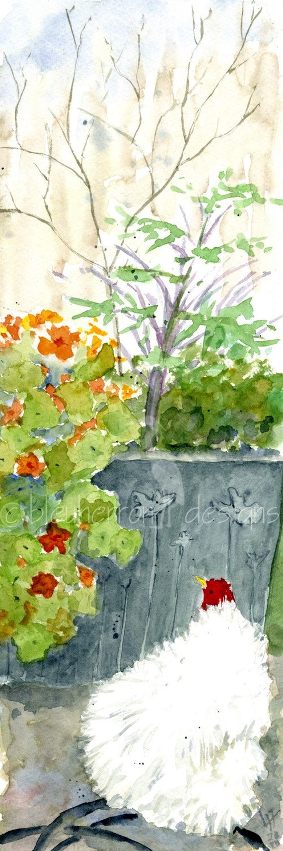 garden watercolor- Fluffy Chicken- panorama 4x12 print