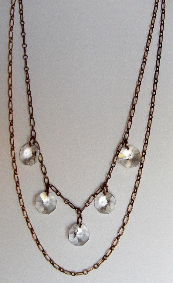 1920s VINTAGE crystal prism necklace