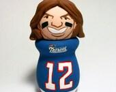 Tom Brady 12 Quarterback New England Patriots Super Bowl Handmade Wood Figure - READY TO SHIP