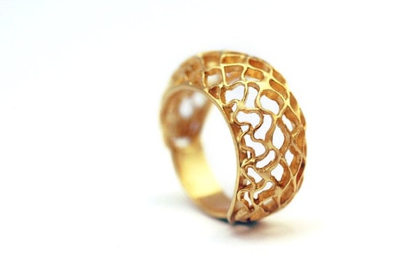 Unique engagement ring, modern jewellery, bee ring, gold plated silver ring