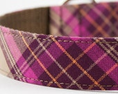 Hot Pink Plaid Dog Collar