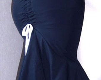 Nautical Navy fishtail skirt, double frill, pinup skirt, ruched back seam, satin ribbon Tailored skirt, Sizes XS-XL or custom made to size