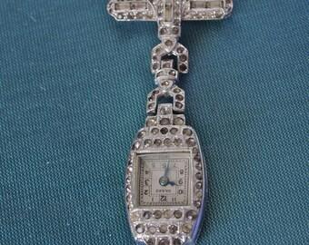 Czech Brooch Art Deco Pave Rhinestone Chatelaine Hinged Brooch Grand Watch