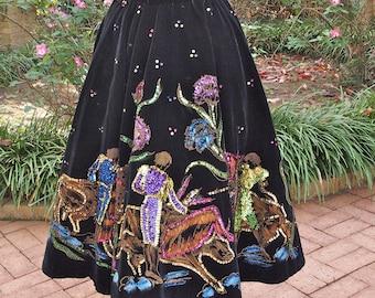Tourist Skirt 50's Mexican Black Velvet and Sequin Circle Rockabilly Hand Painted Matador Skirt