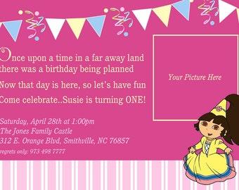 Dora Birthday Invitations, DIY print avail,Princess Pink Dora Birthday Invite, Dora Birthday Party, Photo Invitations
