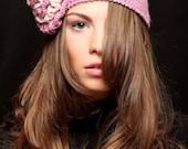 Boho Style Wool Crochet  Powder Pink  Hat   ,Winter  Crochet Retro  Hat  with pink big flower  ,Fall Crochet Fashion Hat with flower.