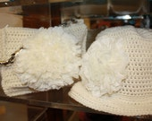 Boho Style Wool Crochet Cream   Bag and Cloche    , Winter Cream  Cloche and Bag with wool ruffles
