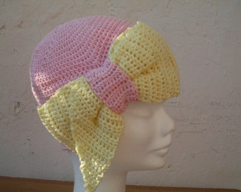 1970's Vintage Crochet Yellow and Pink  Hat- Flapper Crochet Hat -Crochet Hatband  -Ribbon Cap-made to order