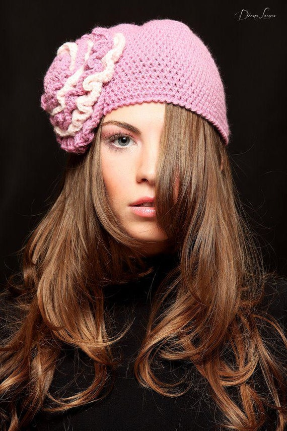 Boho Style Wool Crochet  Powder Pink  Hat   ,Winter  Crochet Retro  Hat  with pink big flower  ,Fall Crochet Fashion Hat with flower.
