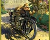 Velocette, British Motorcycle, Veloce, Art Deco, 1930s Advertising Print
