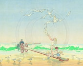 Seagulls, Beach, Seashore, Children, 1920s Print