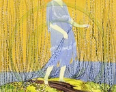 Lady, Barefoot, Woman, M. Noble, Art 1920s Print - Lady Next To The Stream
