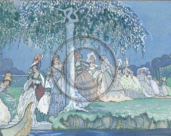 Twelve Dancing Princesses, The Worn-Out Dancing Shoes, Dancing All Night, 1920s Print