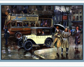 Austin, Cars, Baby Austin, Rainy Day, Advertising, 1930s, Art Deco, Print